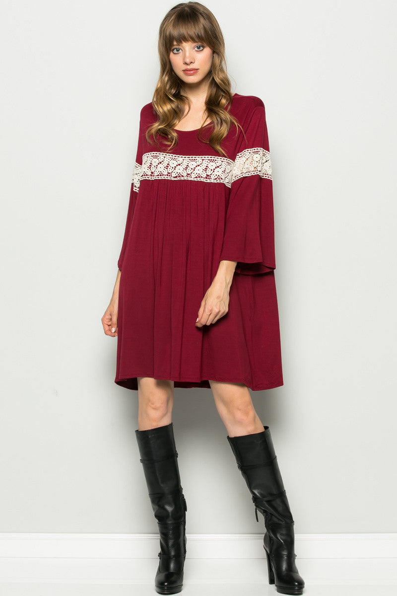 Burgundy Bell Sleeve Crochet Trim Swing Dress - Dresses - My Yuccie - 2
