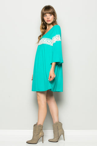 Jade Bell Sleeve Crochet Trim Swing Dress - Dresses - My Yuccie - 1