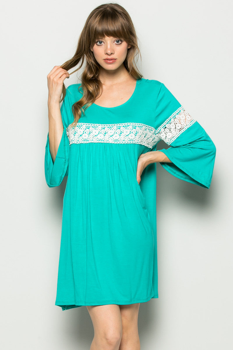 Jade Bell Sleeve Crochet Trim Swing Dress - Dresses - My Yuccie - 3