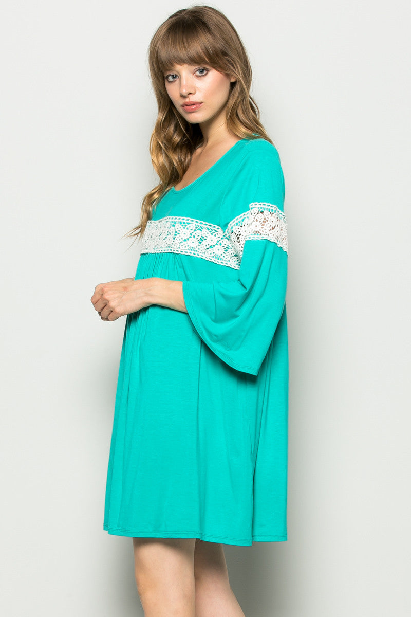 Jade Bell Sleeve Crochet Trim Swing Dress - Dresses - My Yuccie - 4