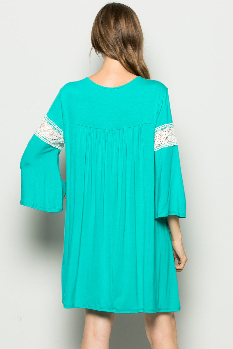 Jade Bell Sleeve Crochet Trim Swing Dress - Dresses - My Yuccie - 5