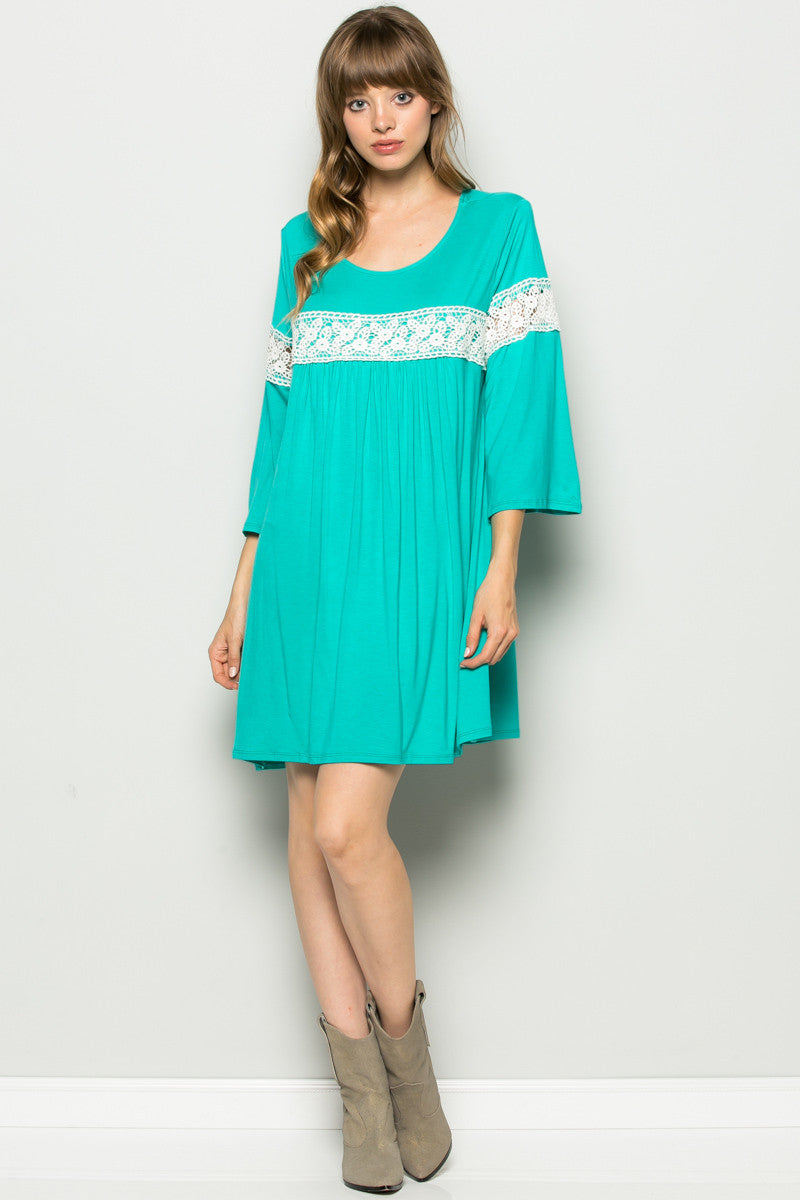 Jade Bell Sleeve Crochet Trim Swing Dress - Dresses - My Yuccie - 2