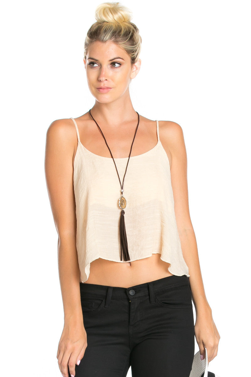 Strappy Sand Crop Top - Tops - My Yuccie - 1