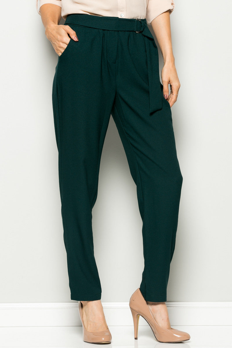 Navy High Waisted Pleated Trousers with Belt - Pants - My Yuccie - 8