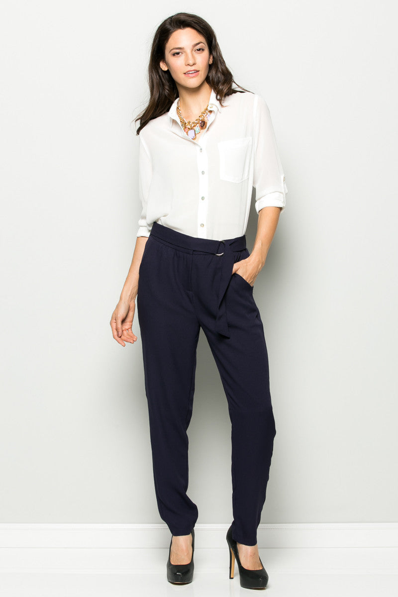 Navy High Waisted Pleated Trousers with Belt - Pants - My Yuccie - 2