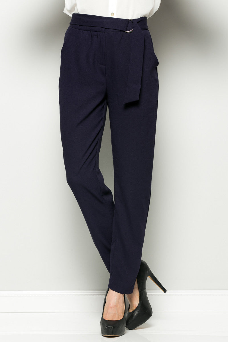 Navy High Waisted Pleated Trousers with Belt - Pants - My Yuccie - 5