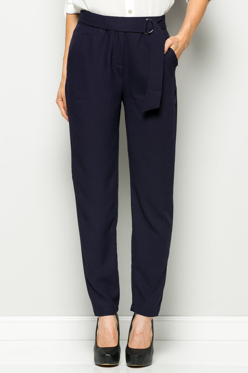 Navy High Waisted Pleated Trousers with Belt - Pants - My Yuccie - 1