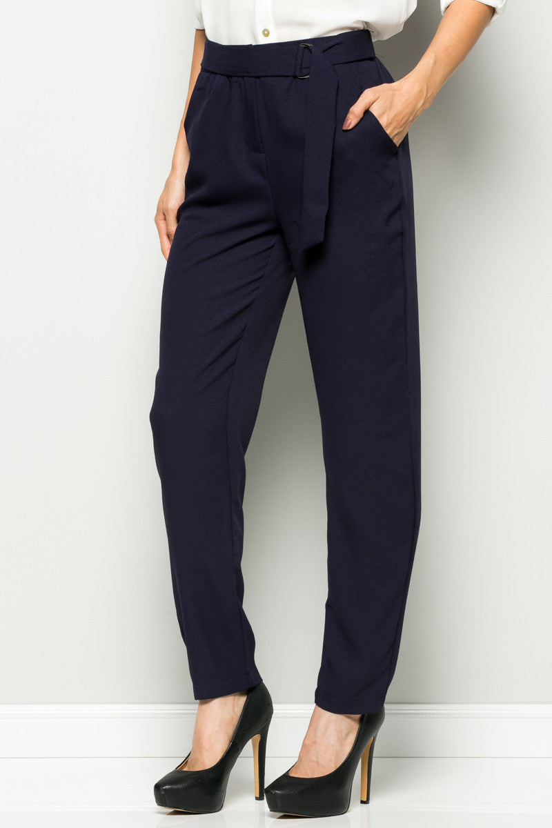 Navy High Waisted Pleated Trousers with Belt - Pants - My Yuccie - 3