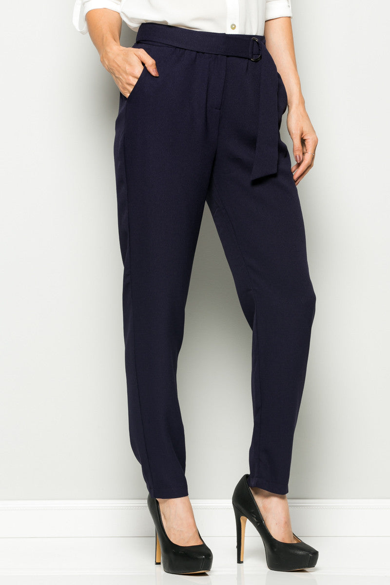 Navy High Waisted Pleated Trousers with Belt - Pants - My Yuccie - 6