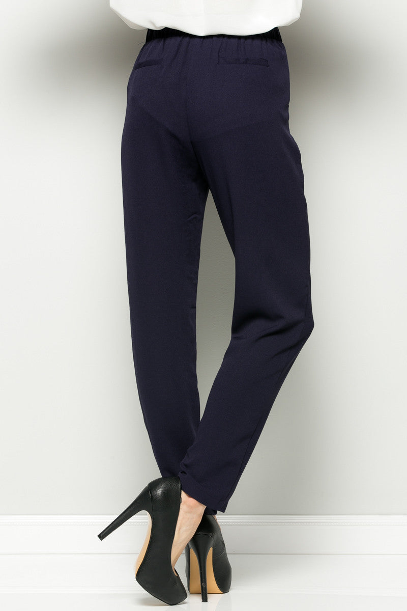 Navy High Waisted Pleated Trousers with Belt - Pants - My Yuccie - 4
