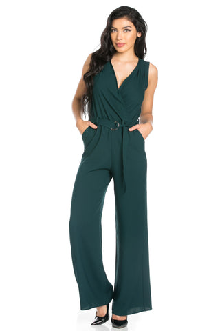 Surplice Wide Leg Green Jumpsuit - Jumpsuit - My Yuccie - 1
