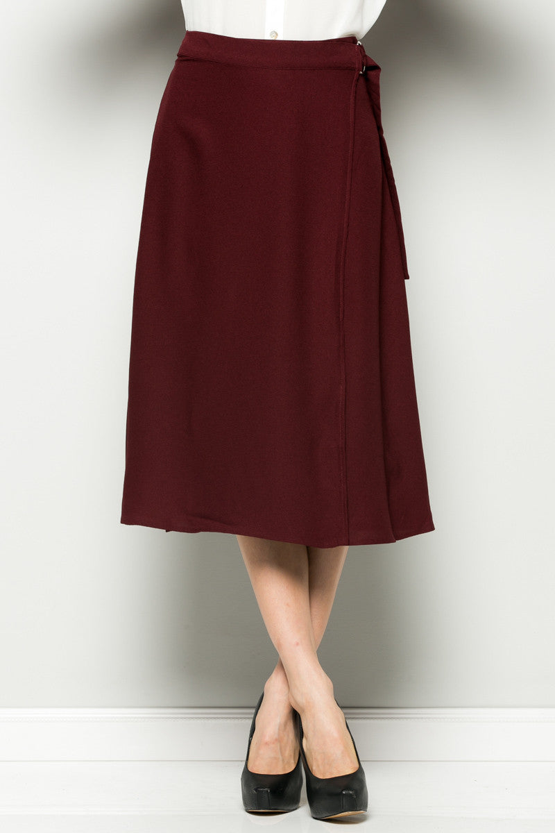 Burgundy High Waisted Belted A-line Midi Skirt - Skirts - My Yuccie - 4