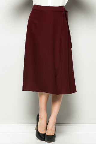 Burgundy High Waisted Belted A-line Midi Skirt - Skirts - My Yuccie - 1