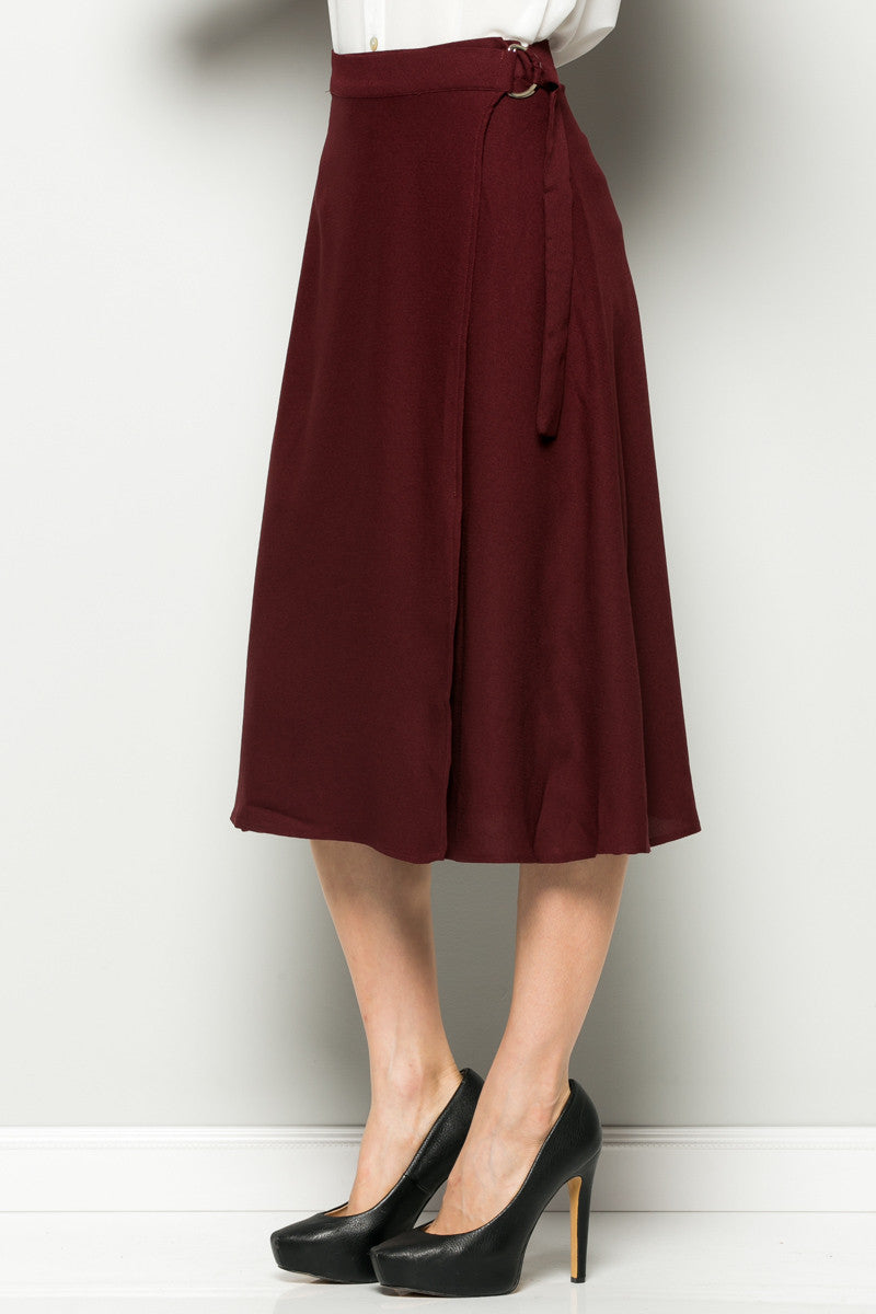 Burgundy High Waisted Belted A-line Midi Skirt - Skirts - My Yuccie - 3