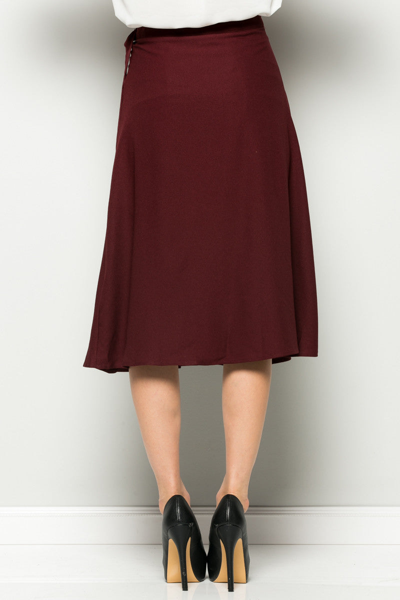 Burgundy High Waisted Belted A-line Midi Skirt - Skirts - My Yuccie - 5