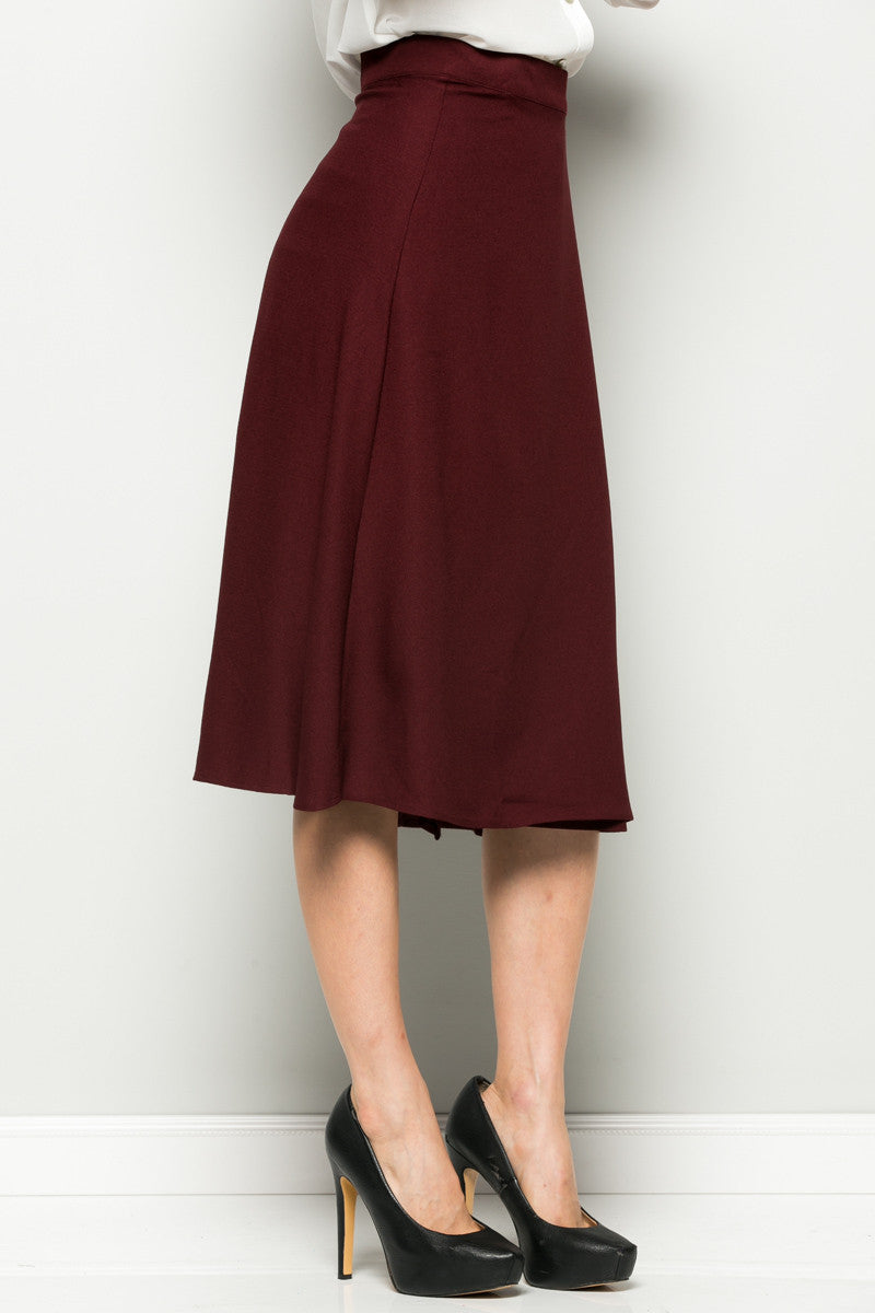 Burgundy High Waisted Belted A-line Midi Skirt - Skirts - My Yuccie - 6