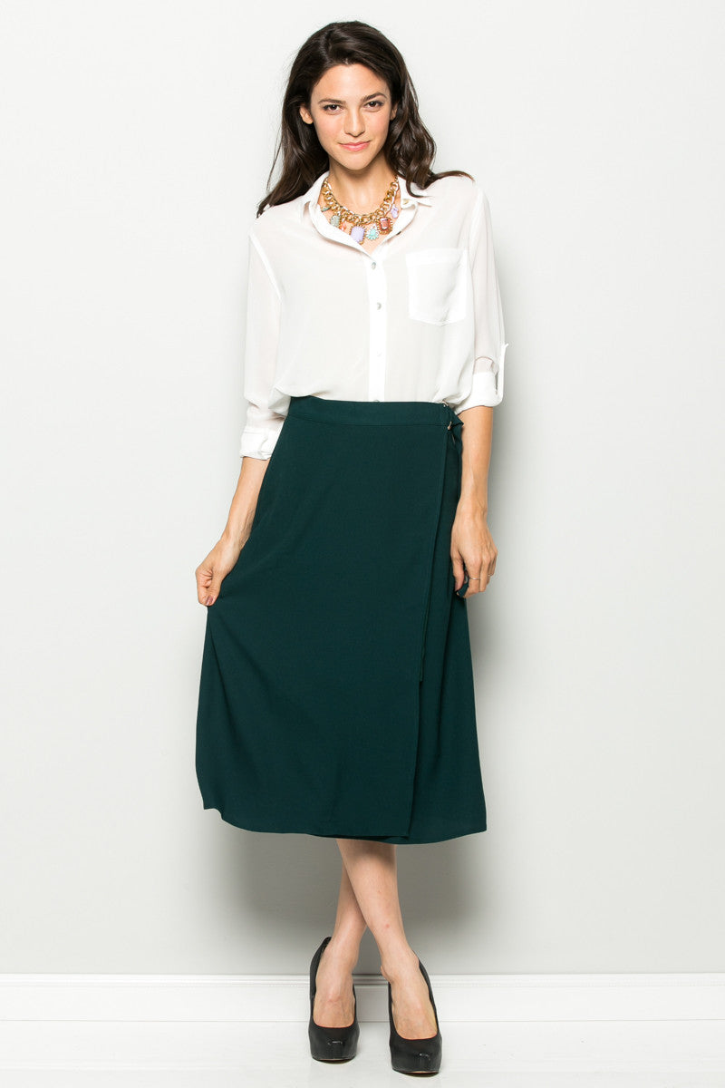 Hunter Green High Waisted Belted A-line Midi Skirt - Skirts - My Yuccie - 2