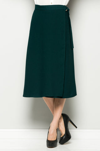 Hunter Green High Waisted Belted A-line Midi Skirt - Skirts - My Yuccie - 1