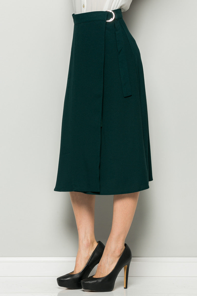 Hunter Green High Waisted Belted A-line Midi Skirt - Skirts - My Yuccie - 3