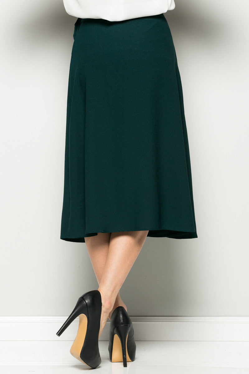 Hunter Green High Waisted Belted A-line Midi Skirt - Skirts - My Yuccie - 4
