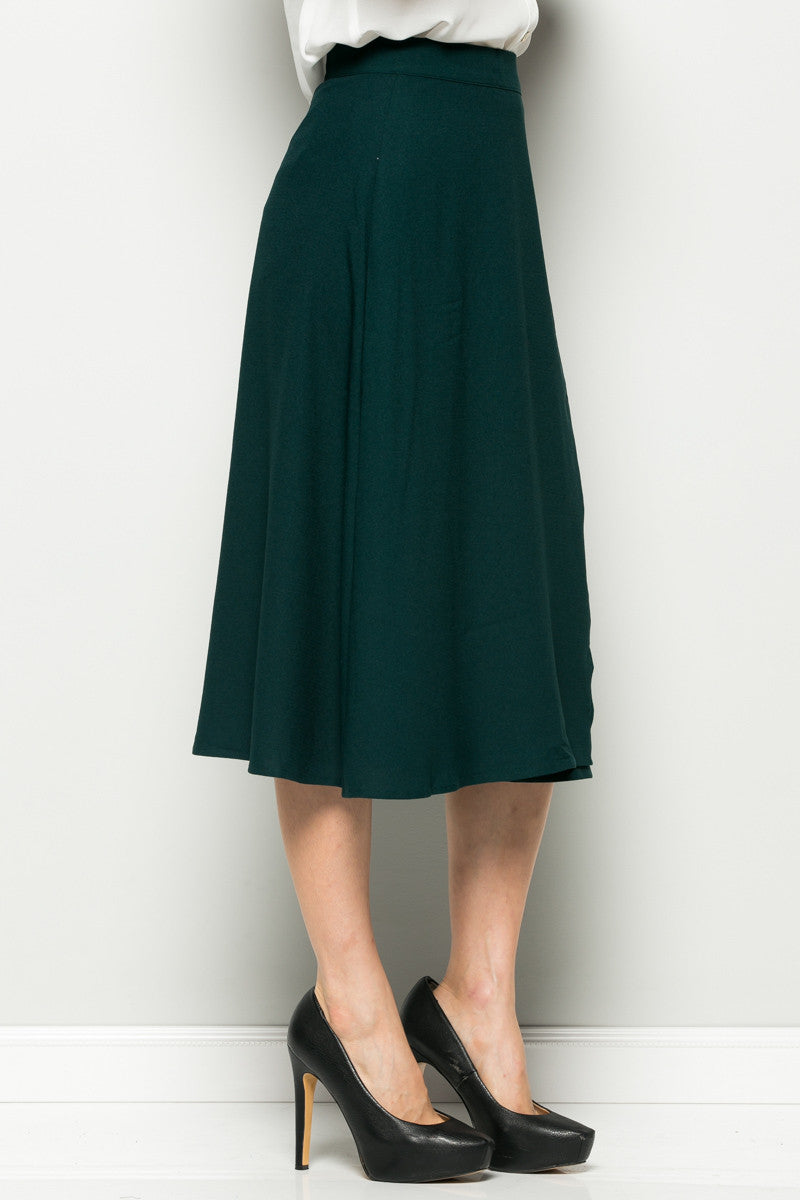 Hunter Green High Waisted Belted A-line Midi Skirt - Skirts - My Yuccie - 6