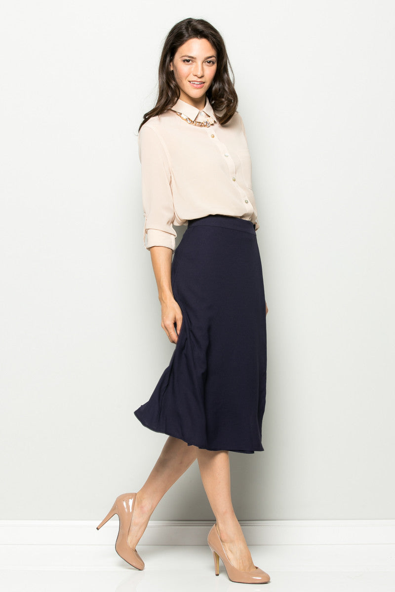 Navy High Waisted Belted A-line Midi Skirt - Skirts - My Yuccie - 2