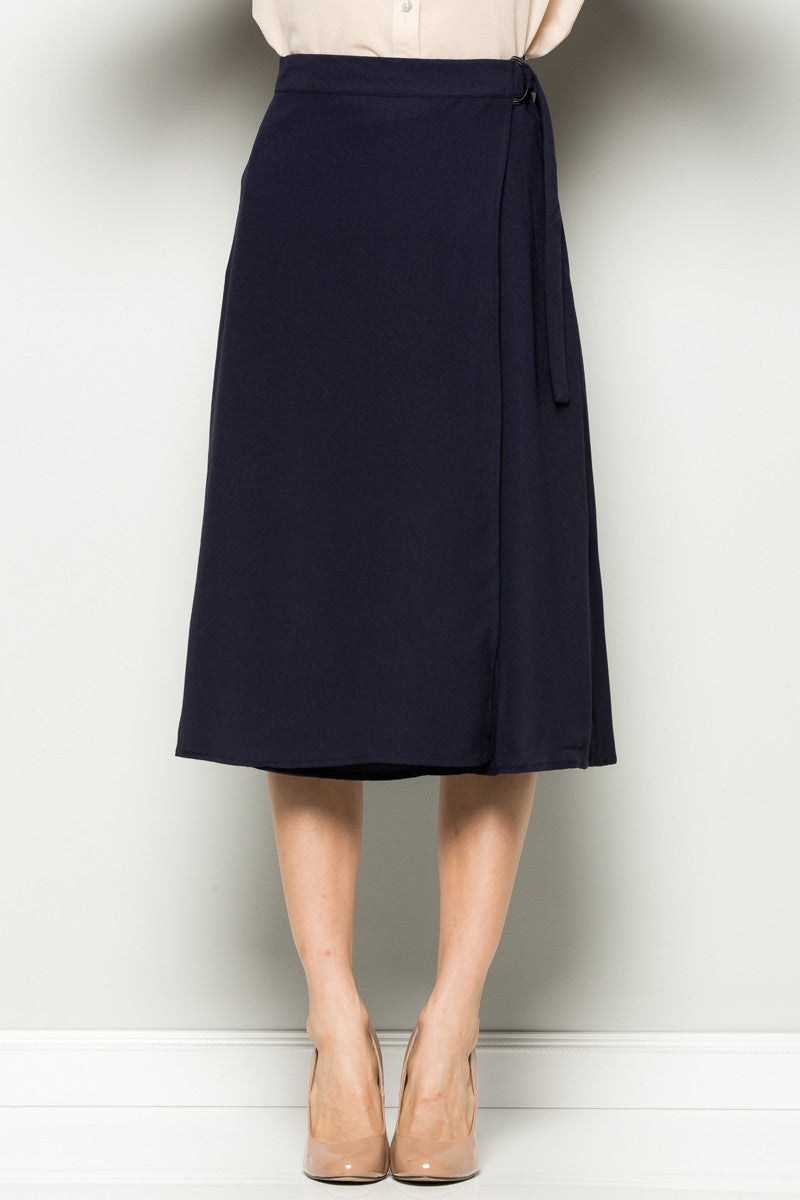 Navy High Waisted Belted A-line Midi Skirt - Skirts - My Yuccie - 5