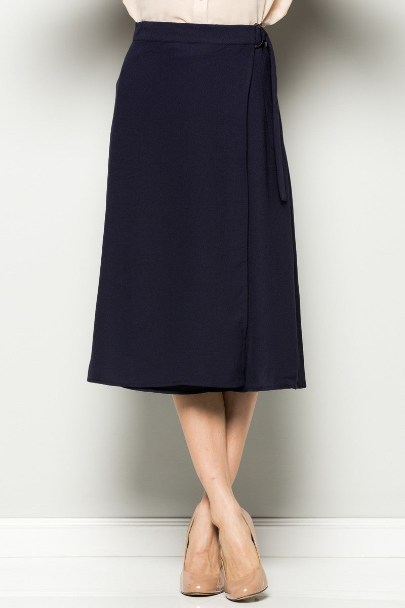 Navy High Waisted Belted A-line Midi Skirt - Skirts - My Yuccie - 1