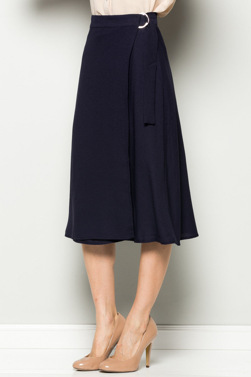 Navy High Waisted Belted A-line Midi Skirt - Skirts - My Yuccie - 3