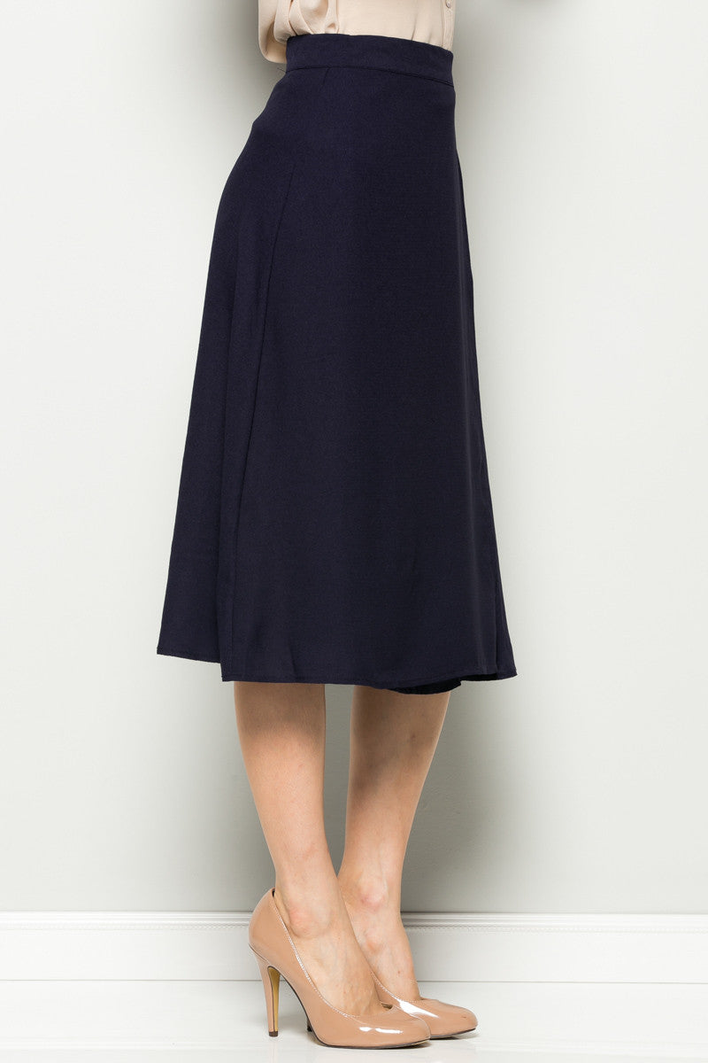 Navy High Waisted Belted A-line Midi Skirt - Skirts - My Yuccie - 6