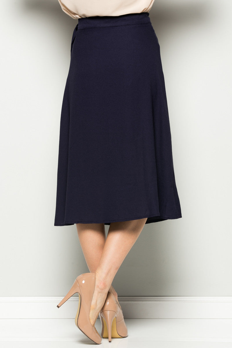 Navy High Waisted Belted A-line Midi Skirt - Skirts - My Yuccie - 4