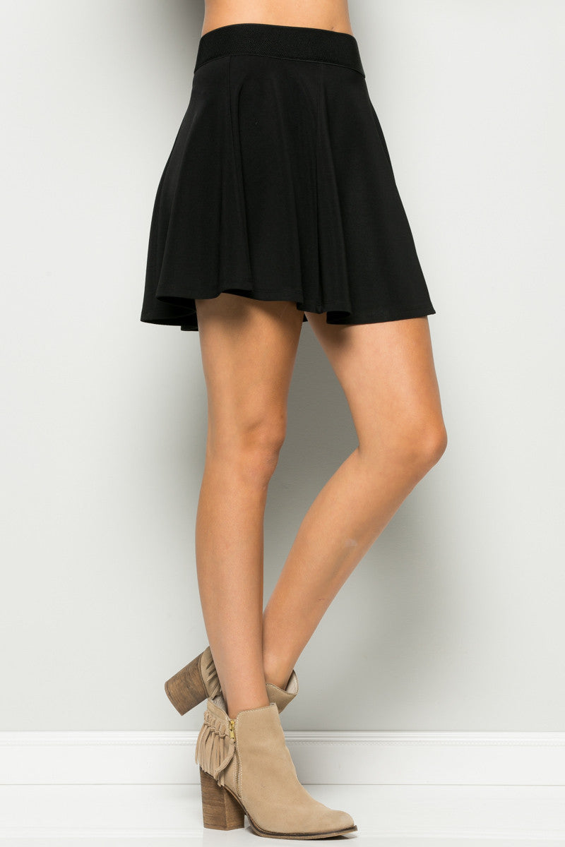 Micro Wafer Black Skater Skirt