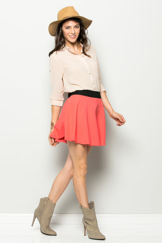 Micro Wafer Coral Skater Skirt