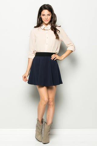 Micro Wafer Navy Skater Skirt