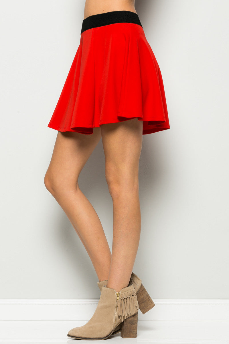 Micro Wafer Red Mini Skater Skirt