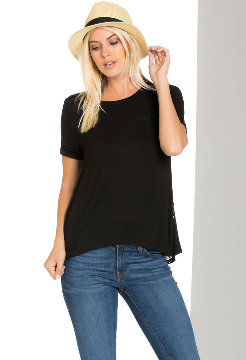 Casual Crochet Back Short Sleeve Black Top - Shirts - My Yuccie - 3
