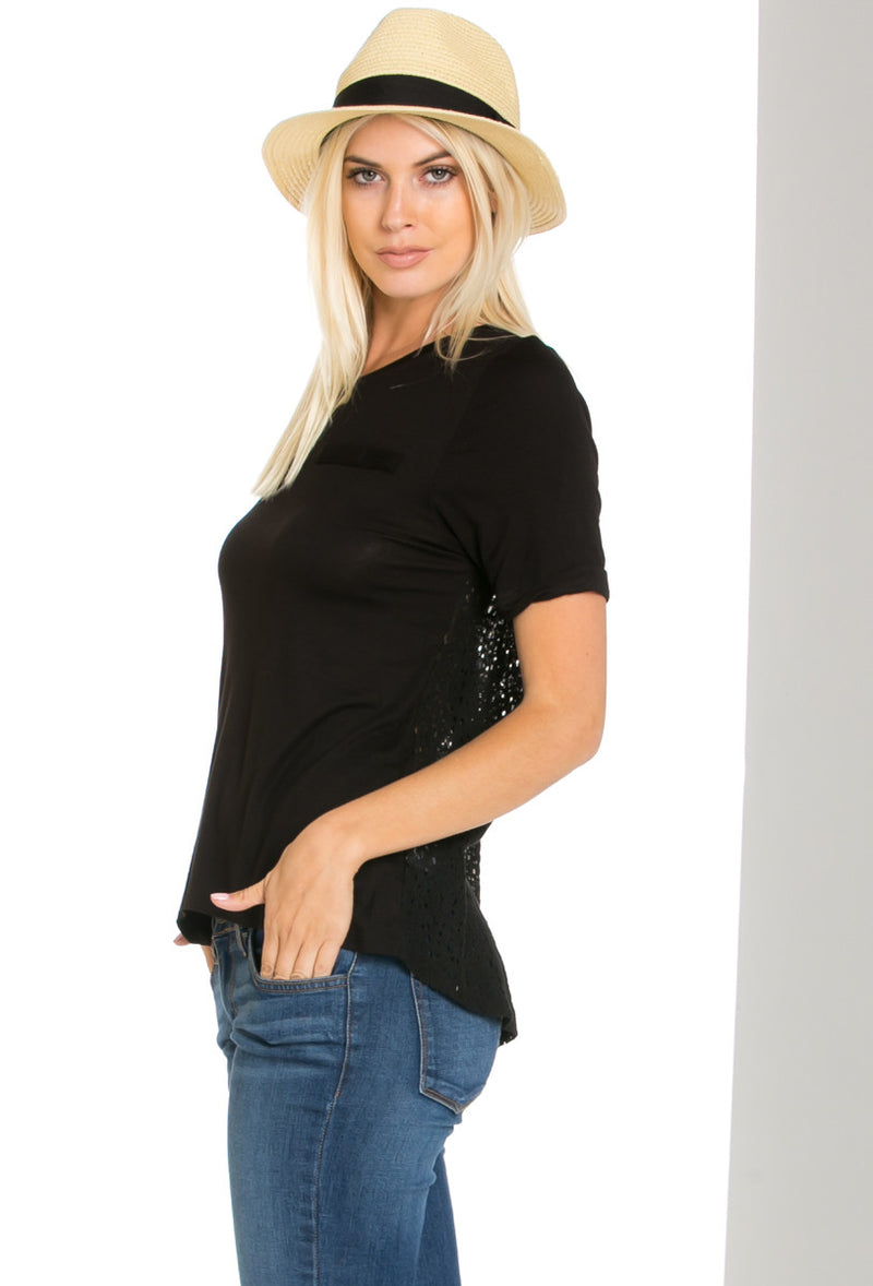 Casual Crochet Back Short Sleeve Black Top - Shirts - My Yuccie - 1