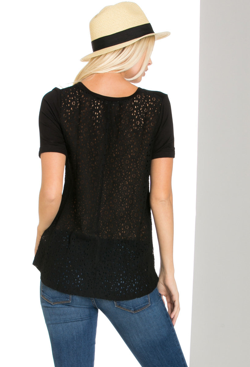 Casual Crochet Back Short Sleeve Black Top - Shirts - My Yuccie - 2