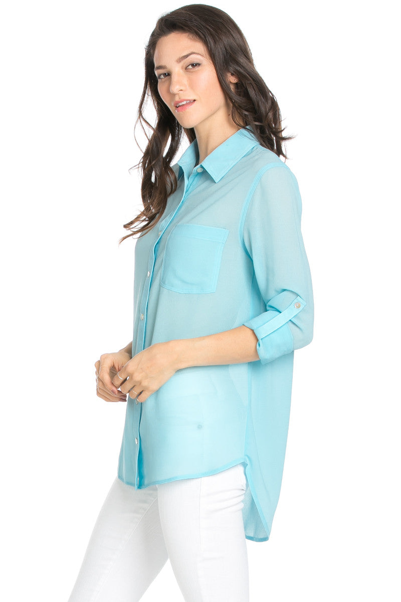 Roll Up Sleeve Button Down Baby Blue Chiffon Blouse - Blouses - My Yuccie - 3