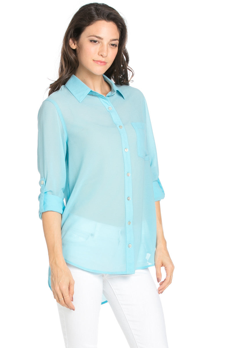 Roll Up Sleeve Button Down Baby Blue Chiffon Blouse - Blouses - My Yuccie - 4