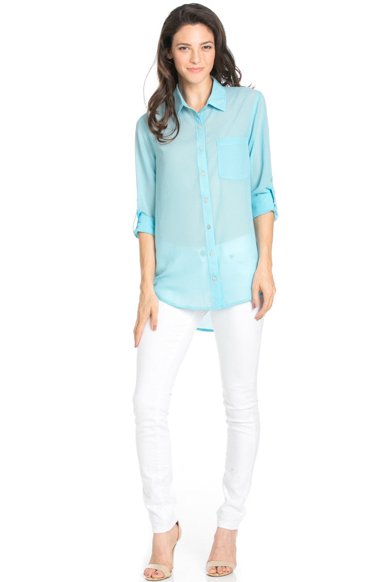 Roll Up Sleeve Button Down Baby Blue Chiffon Blouse - Blouses - My Yuccie - 2