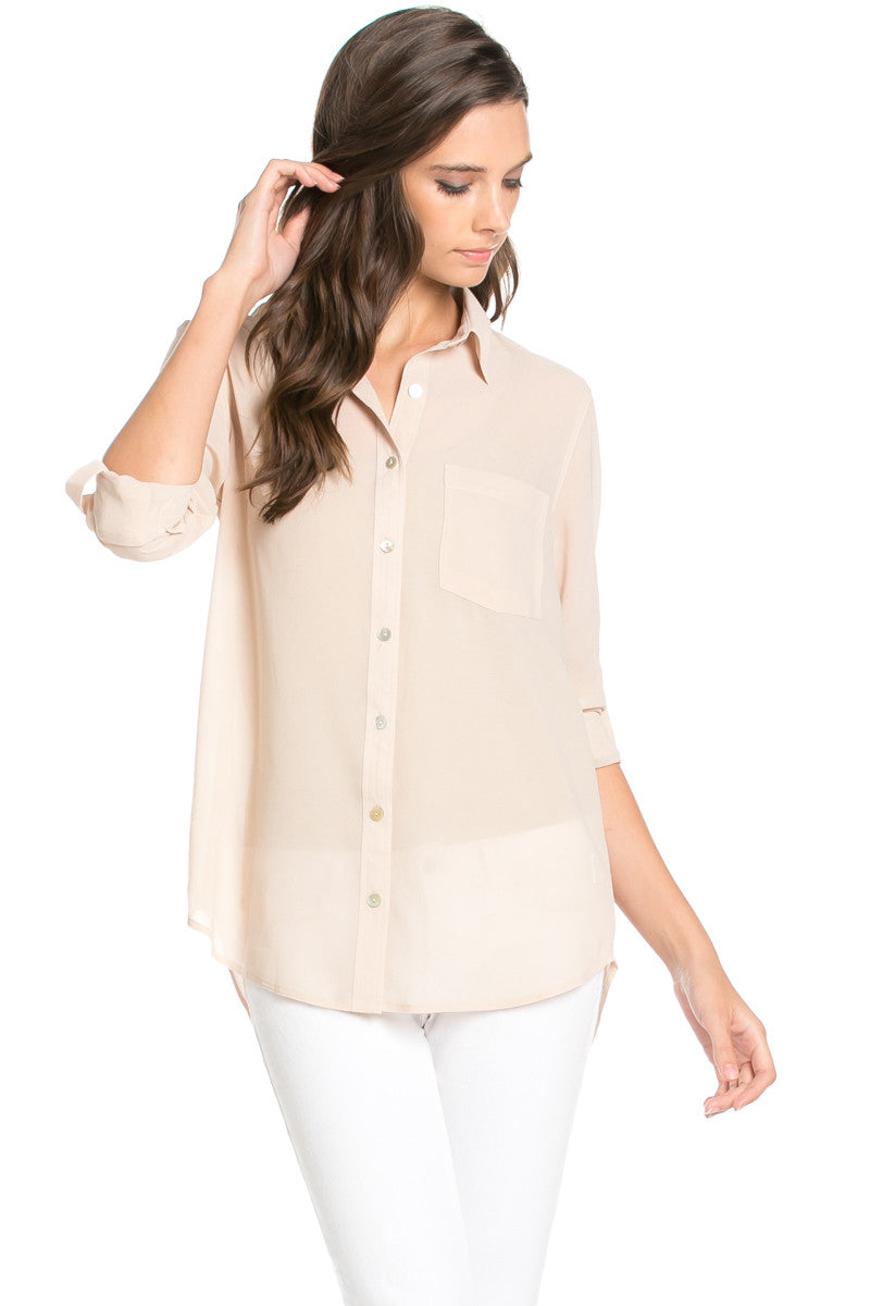 Roll Up Sleeve Button Down Beige Chiffon Blouse - Blouses - My Yuccie - 1