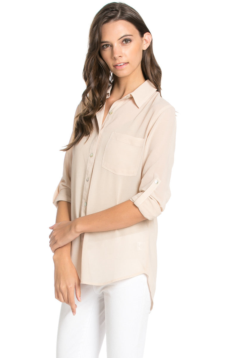Roll Up Sleeve Button Down Beige Chiffon Blouse - Blouses - My Yuccie - 3