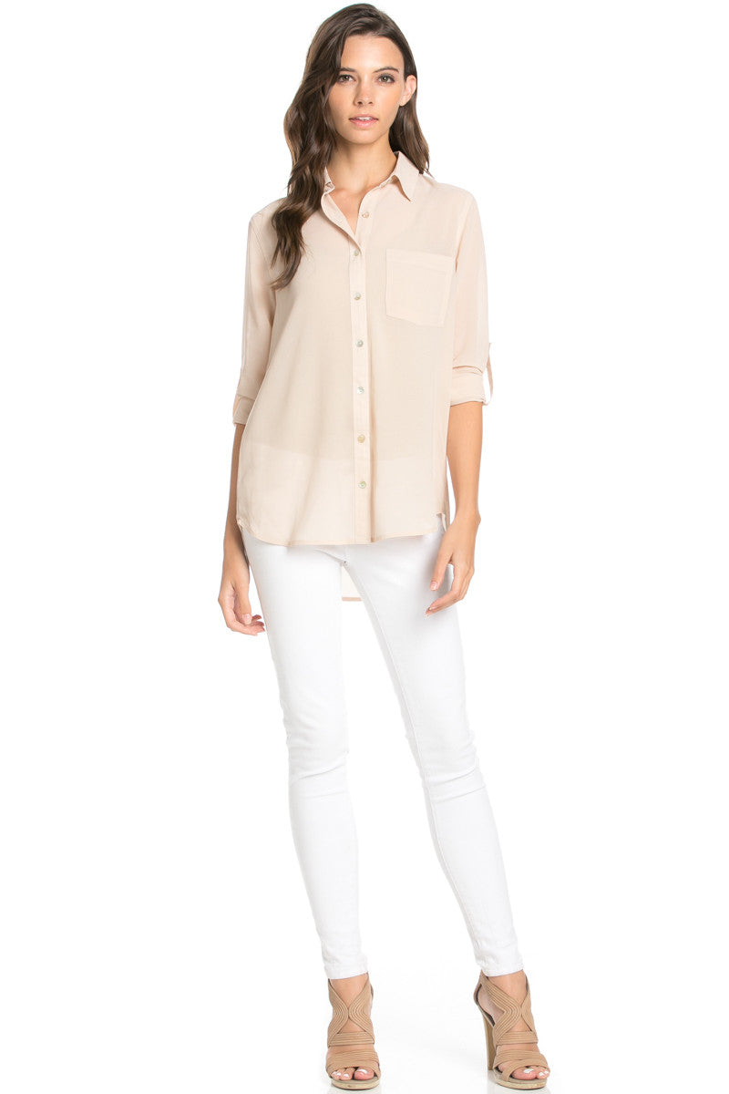 Roll Up Sleeve Button Down Beige Chiffon Blouse - Blouses - My Yuccie - 2