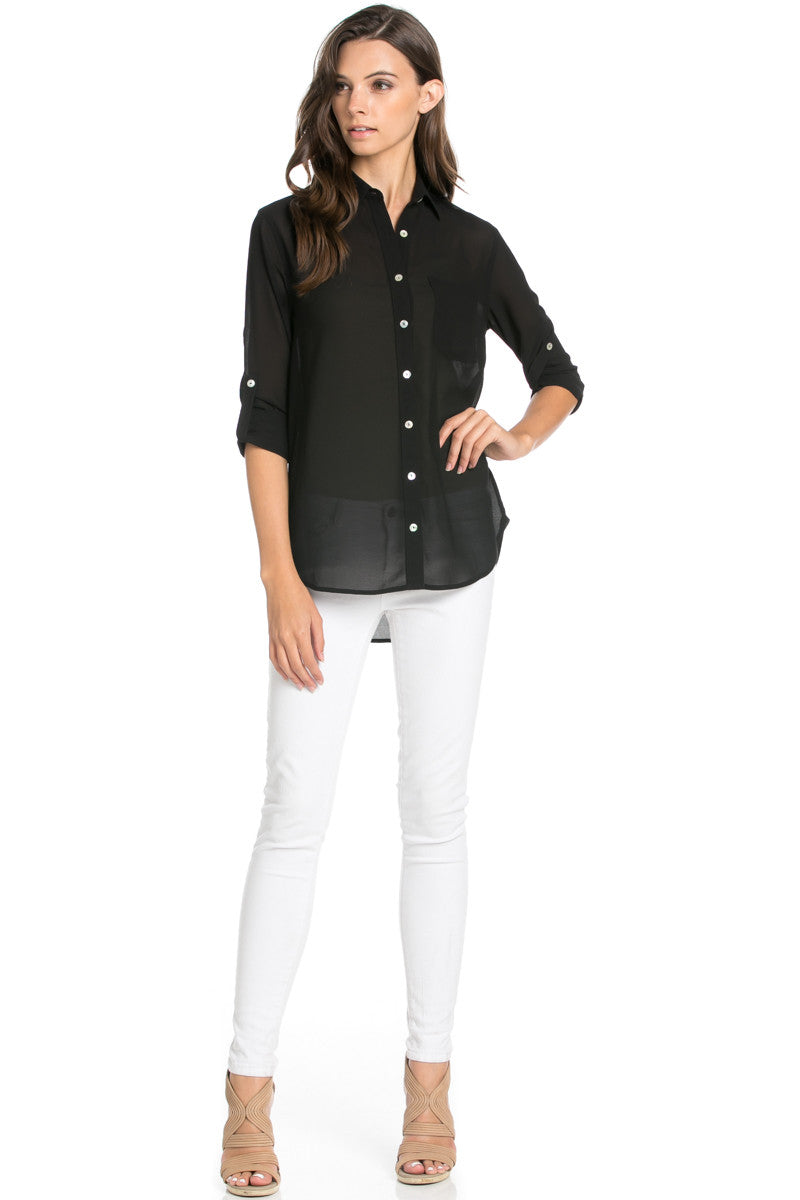 Roll Up Sleeve Button Down Black Chiffon Blouse - Blouses - My Yuccie - 2