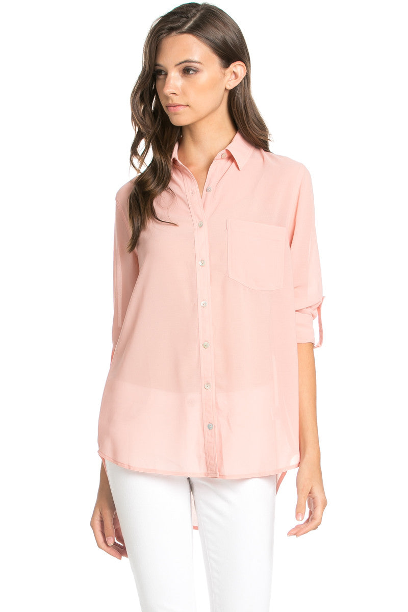 Roll Up Sleeve Button Down Blush Chiffon Blouse - Blouses - My Yuccie - 4