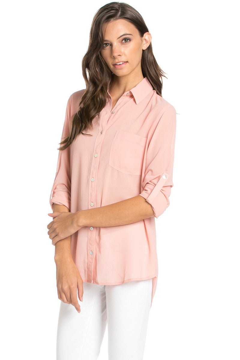 Roll Up Sleeve Button Down Blush Chiffon Blouse - Blouses - My Yuccie - 2