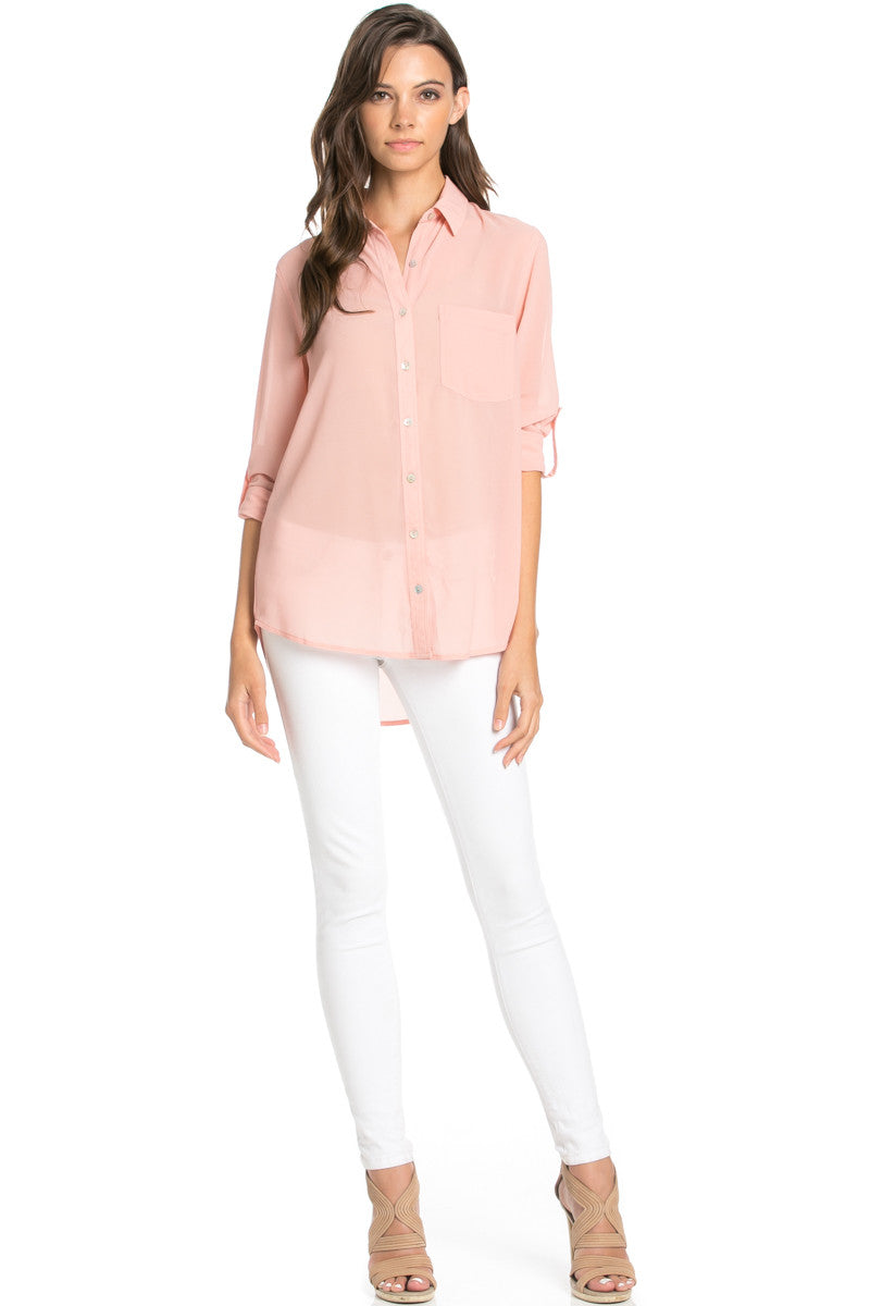 Roll Up Sleeve Button Down Blush Chiffon Blouse - Blouses - My Yuccie - 3
