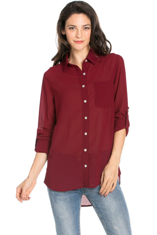 Roll Up Sleeve Button Down Burgundy Chiffon Blouse - Blouses - My Yuccie - 1
