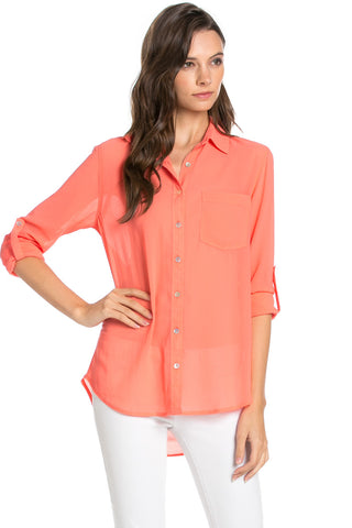 Roll Up Sleeve Button Down Coral Chiffon Blouse - Blouses - My Yuccie - 1